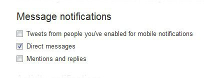 Setting up Twitters Direct Message Notifications