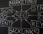 SEO flow chart on chalkboard