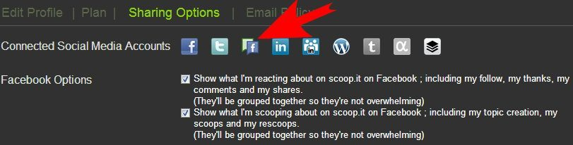 Sharing your post to Facebook Fan Page with Scoop-it