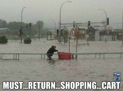 Must Return Shopping Cart - Hurricane Sandy Flood
