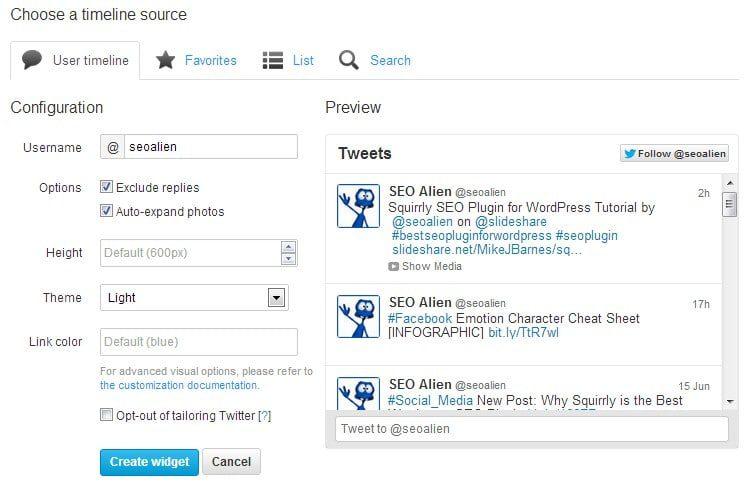 Twitter RSS Feed Widget Settings