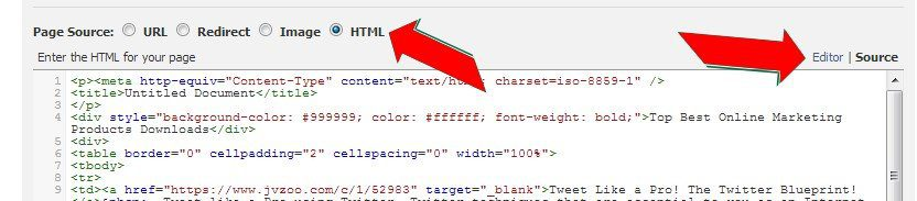Choose Source to add your HTML Code
