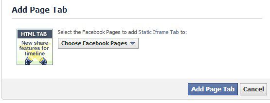 Select page and then click Add Page Tab