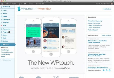 WPtouch admin