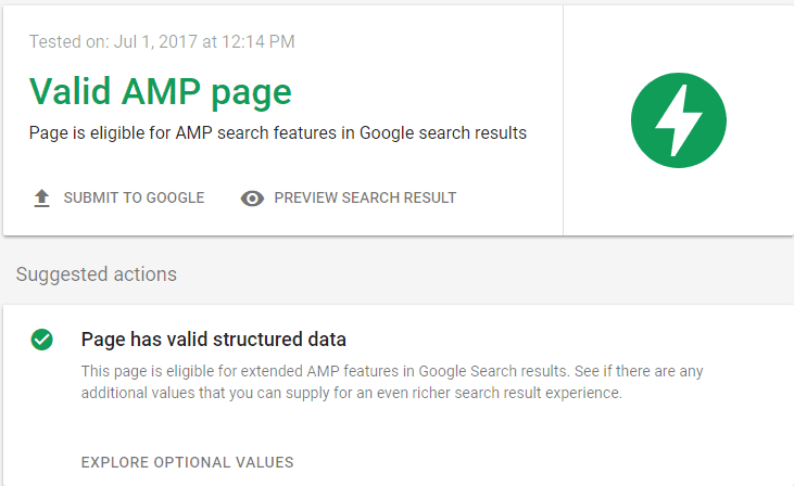 Valid AMP Page